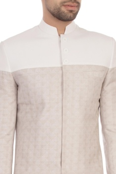 Ivory worsted wool textured sherwani with trousers