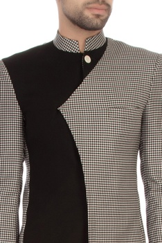 Black & white worsted wool houndstooth bandhgala with trousers