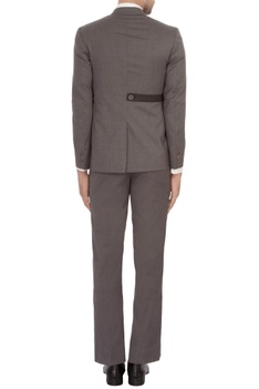 Grey worsted wool suit with detachable waistcoat
