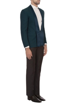 Teal worsted wool dinner jacket with trousers