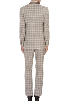 Grey worsted wool checks tuxedo jacket with trousers