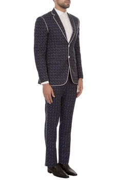 Blue worsted wool texture jacket with trousers
