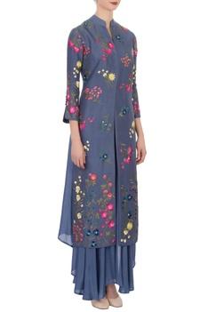 Blue floral embroidered jacket & pants