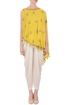 Yellow mirror cape & satin dhoti