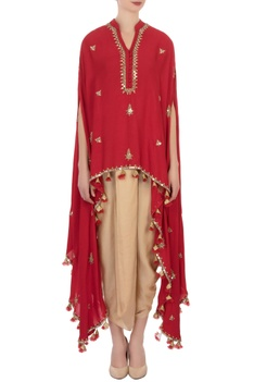 Red knot style tassel cape tunic