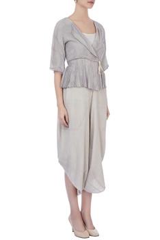 Light grey handwoven woolen & handwoven silk blouse and dhoti pants