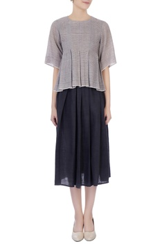 Grey handwoven organic cotton shirt & pleated skirt