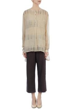Chocolate brown linen pants & hand-woven top