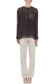 Charcoal sheer silk top & hand-woven cotton pants