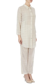 Cream gingham check tunic & pants