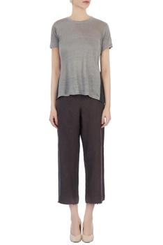 Dark grey & light grey silk linen & organic handwoven cotton pleated blouse