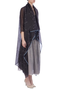 Light & dark grey organic handwoven cotton & handwoven silk jacket with palazzo