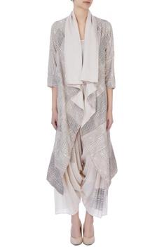 Ecru organic handwoven cotton handblock print jacket and pants