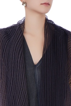 Charcoal hand woven pants & deconstructed shrug