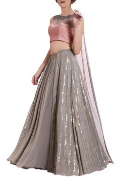 Salmon pink and grey moti crop top and skirt