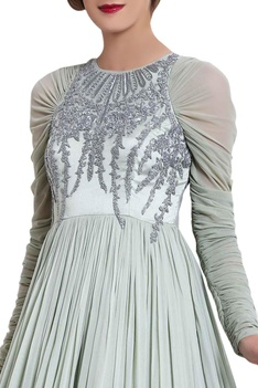 Mint green cut dana work gown