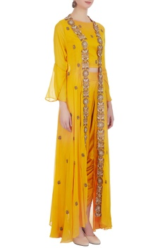 Yellow modal satin crop top with jacket & dhoti