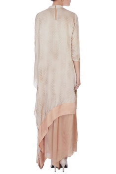 Brown & beige satin cape & palazzos
