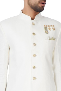 Ivory embroidered cotton bandhgala