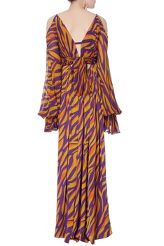 Yellow & purple printed gown