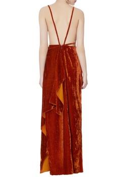 Burnt orange velvet cutout gown