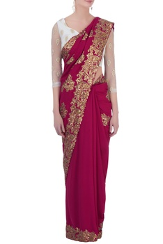 Pink georgette sequin sari with petticoat & blouse