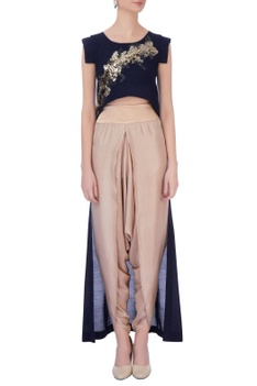 Navy blue & beige synthetic & silk embroidered cape with dhoti pants