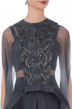 Dark grey organza & silk embroidered cape with dhoti pants and bustier