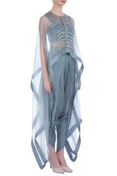 Grey organza & silk embroidered cape with dhoti pants and bustier