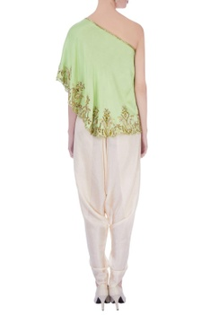 Green & beige dupion silk embroidered blouse with dhoti pants