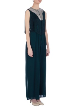 Teal blue georgette solid jumpsuit with fringed cape