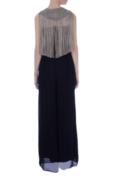 Teal blue georgette solid jumpsuit with beige fringed cape