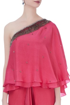 Punch pink dupion silk embroidered blouse with dhoti pants