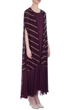 Wine silk embroidered cape with dress