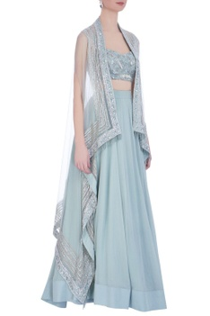 Mint green net & georgette embroidered jacket with long skirt & bustier