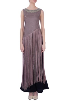 Mauve synthetic & silk embroidered cape with pants
