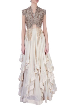 Ivory georgette & silk embellished blouse with ruffled skirt
