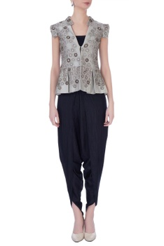 Grey silk embellished jacket with dhoti pants & bustier