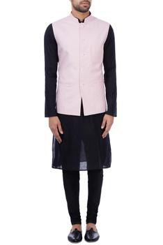 Baby pink linen front pocket nehru jacket