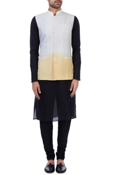 White and orange linen ombre nehru jacket