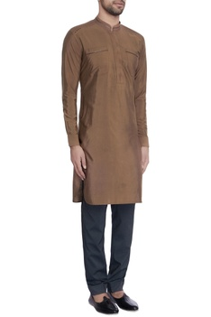 Brown leather embroidery cotton kurta