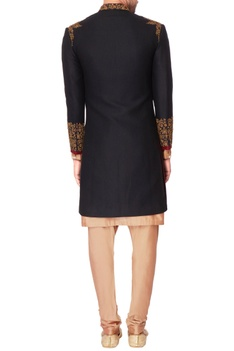 Black embroidered italian suiting kurta