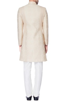 Beige self embossed dupion silk kurta