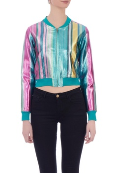 Multicolored rainbow stripe lurex bomber jacket