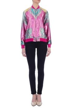 Pink & blue metallic lurex bomber jacket