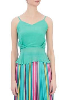 Sea green crepe cami blouse