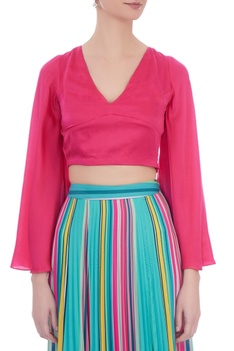 Pink cotton satin bell sleeve top