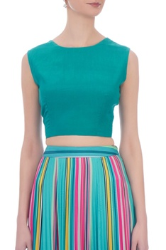 Sea green crepe bow detail top