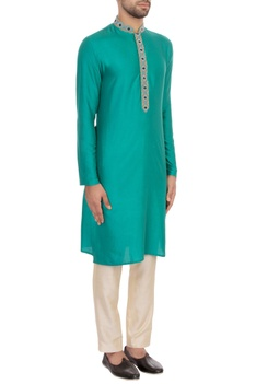 Aqua green spun silk embroidered kurta