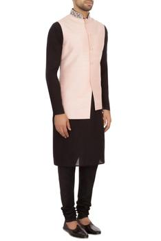 Baby pink raw silk solid nehru jacket